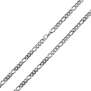 Bling Jewelry Mens 4.5mm Figaro Chain Stainless Steel Necklace 30in