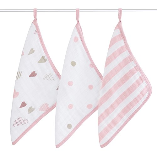 aden + anais Classic Washcloth, Heartbreaker, 3 Pack