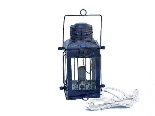 "Handcrafted Nautical Decor Iron Cargo Electric Lamp, 11"", Dark Blue, Iron"