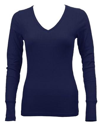 Ladies Navy Blue Long Sleeve Thermal Top V-Neck