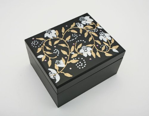 Swarovski Crystals! Vintage style Magnolia Flowers Tazo Tea Box, Wooden Tea Chest Includes 22 TAZO Tea Bags! 4 Compartment Sampler in 11 Assorted Flavors Handpainted in America USA