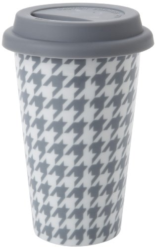 Yedi Houseware Classic Coffee And Tea 11-Ounce Houndstooth Mug, Grey