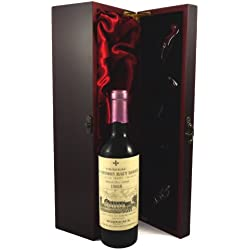 Chateau La Mission Haut Brion 1/2 bottle 1968 Vintage Wine presented in a silk lined wooden box with four wine accessories