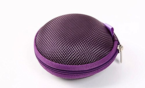 Noarks Portable Earphone / Usb Cable / Mp3 Smart Mash Bag Mobile In-Ear Headset Stereo Wired Sport Bag Holder Pouch Hold Box Pocket Hard Hold Protection Headsets Hard Eva Carrying Case/Bag (B-Dark Purple)