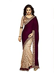 Z Hot Fashion Women's Printed Border work Saree In Net Fabric (ZHKN1024) Maroon