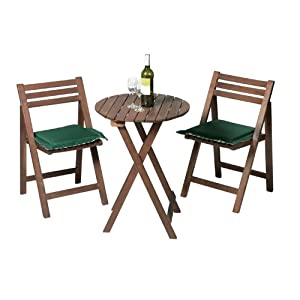 small wooden bistro table and 2 chairs acacia hardwood dining set