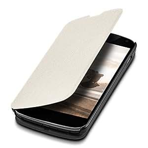 kwmobile Flip Case Hülle für LG Google Nexus 4 - Aufklappbare Schutzhülle Tasche im Flip Cover Style in Weiß