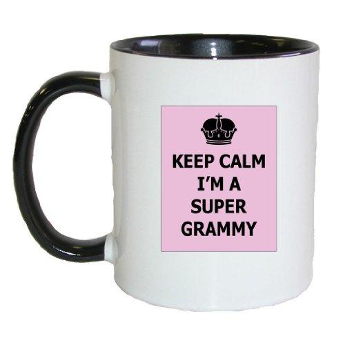 Mashed Mugs - Keep Calm I'M A Super Grammy - Coffee Cup/Tea Mug (White/Black)