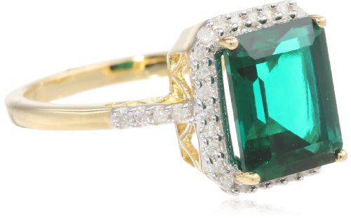 Sterling Silver with Yellow Gold Plated Created Emerald and 0.18cttw Diamond Ring, Size 7