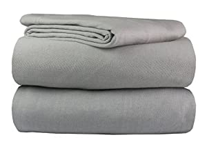 100% Cotton Super Soft Luxury Jersey Sheet 4 Pc Bed Sheet Set (Heather Gray, Queen)