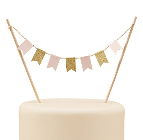 Ginger Ray Pastel Perfection Sparkle Party/Wedding Cake Bunting Topper, Pink/Gold