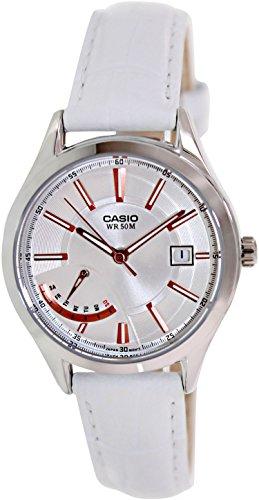 Casio Women'S Ltpe102L-7Av White Leather Quartz Watch With Silver Dial