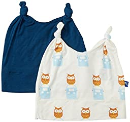 Kickee Pants Double Knot Hat Set, Peacock/Natural Radio Owl, 3-12 Months
