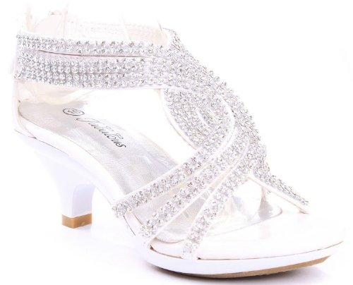 Jjf Shoes Angel-37 Kids White Little Girls Bling Rhinestone Platform Dress Heels Sandals-9