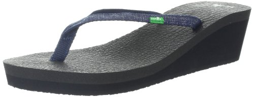 Sanuk Women'S Yoga Spree Wedge Flip Flop,Midnight,9 M Us