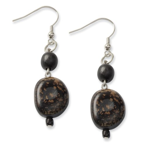 Silver-Tone Anipay Seed & Black Natural Wood 2.5in Dangle Earrings