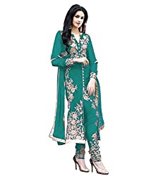 Sourabh Enterprises Women's Georgette Unstitched Dress Material (NE028_Turquoise_Free Size)