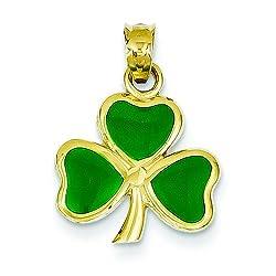 14K Gold Enamel 3 Leaf Clover Pendant Shamrock Jewelry