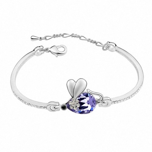 TAOTAOHAS- [ Search Name: Honey Tommy ] (1PC) Crystallized Swarovski Elements Austria Crystal Bangle Bracelet, Made of Alloy Plated with 18K True Platinum / White Gold and Czech Rhinestone