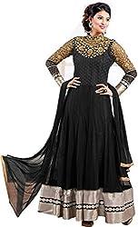 Rudra Fab Black embroidered georgette semistitched salwar suit