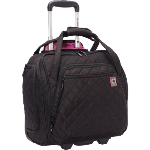 Delsey Quilted Rolling Underseat Tote Black Bags Central