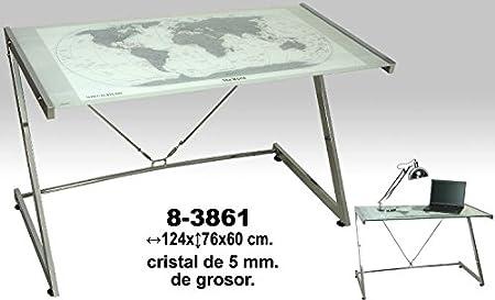 DonRegaloWeb - Mesa de metal y cristal de 5mm de grosor decorado con un mapamundi