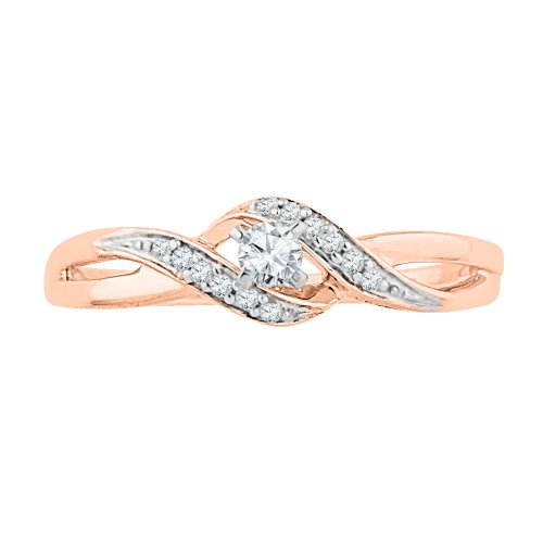 10-KT-Pink-Gold-Round-Diamond-Fashion-Ring-012-Cttw