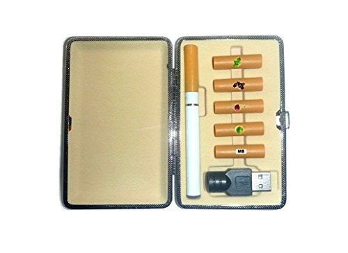 "E-Zigarette Einsteiger Set inkl. Metalletui + USB-Adapter+ 5 ""Nikotindepots""/Filter Depots (Tobacco, Cherry, Apfel, Kaffee +Mint) 0.0mg # E-Zigarette / Elektronische Zigarette, E-Smoke Komplett Starter kit"