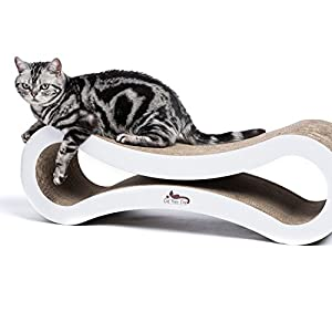 Premium Cat Scratcher Lounge -- Made of heavy duty corrugated cardboard this modern cat furniture will keep your cats healthy and entertained. The best cat scratcher -- Built to last. By Cat Rule One