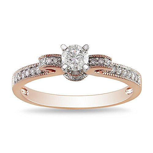 0.58 Carat Diamond Engagement Ring with Round cut Diamond on 18K Rose gold