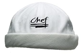 San Jamar H059WH Cotton Chef Beanie with Elastic Head Band and Chef Logo, White