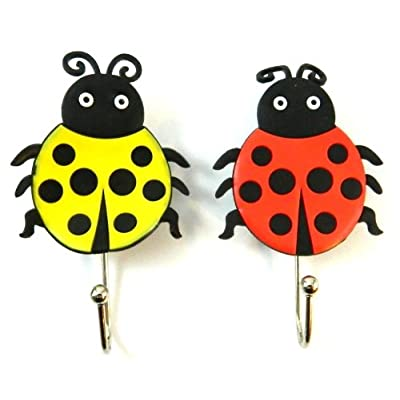 2 Two Lady Bug Shower Cloth Towel Suction Cup Hooks Hangers Suckers MY-1734