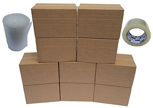 Heavy Duty Moving Boxes - Medium Size Kit: 10 Pack Plus Bonus Roll of Tape and Bubble Wrap (Bubble Pack Case compare prices)