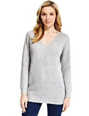 Autograph V-Neck Fisherman Jumper with Modal