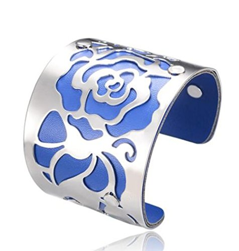 Cuff Bracelets H Love The Rose Flowers Bangles For Women Platinum Plated Blue (Louis Vuitton Shoes For Women compare prices)