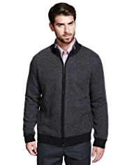 Collezione Wool Rich Zip Through Birdseye Cardigan with Cashmere
