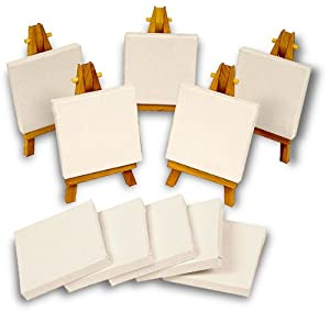 Mini Canvas and Easel Set of 15 Pieces 10 Mini Canvases 5 Mini Easels
