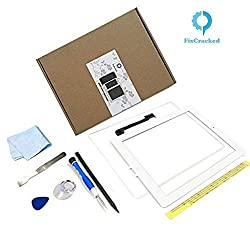 iPad 3 Screen Replacement,FixCracked iPad3 Digitizer Touch Screen Front Glass Assembly White-Includes Home Button + Camera Holder + PreInstalled Adhesive with tools kit
