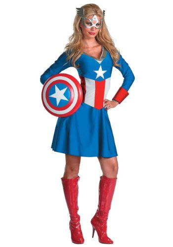 Disguise Womens Marvel Avengers Miss Classic Captain America Halloween Costume