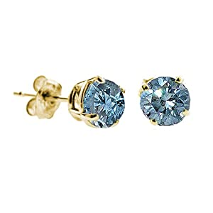 Damen Ohrringe 14 Karat (585) Gelbgold Blau Diamant 0.33 Karat