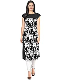 ZIYAA Black Color Half Sleeve AndBoat Neck Faux Crepe Kurti