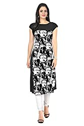 Granth Lifestyle Georgette Solid Bollywood Black Women's Kurti