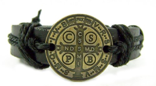 Black Bronze Catholic Patron Saint St. Benedict Exorcism Medal Bracelet Protect