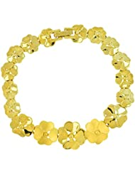 The Jewelbox 3D Flower 22K Glossy Gold Plated Bracelet For Women