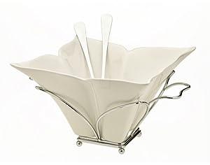 Godinger Fiori Salad Bowl with Rack and Servers by Godinger