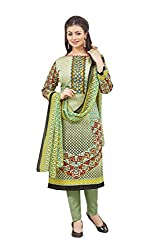 Shaily Retails Women's Bollywood Light Green Cotton Printed Dress Material