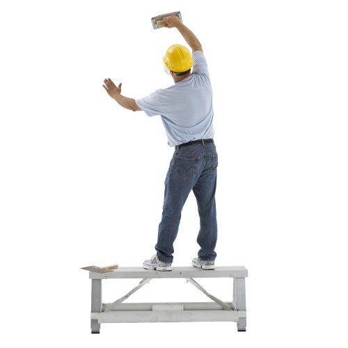 Pentagon Tool Professional Quality Aluminum Drywall Bench With Adjustable Steps And Functions As A Workbench