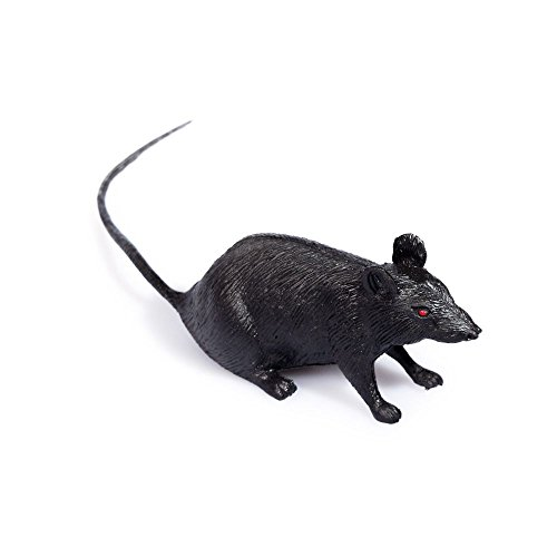 "4.5"" Black Rubber Halloween Horror Decoration Fake Toy Rat"