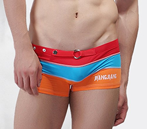 ByCang Men's Summer Stretch Buckle Swimwear Strips Swimming Trunks (Red Size L)