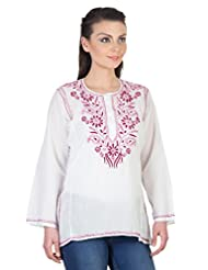 YAK International Cotton Pink Round Neck Kurti For Women